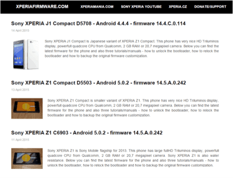 Sony Xperia Firmware