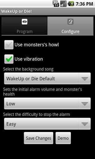 app wake up or die android
