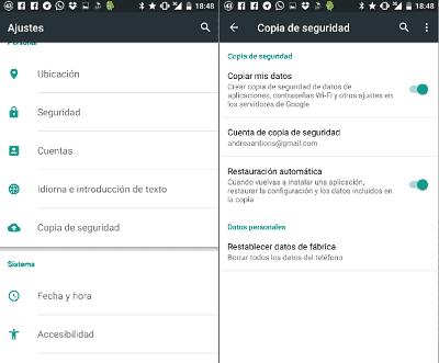 Copia de Seguridad en Google Marshmallow