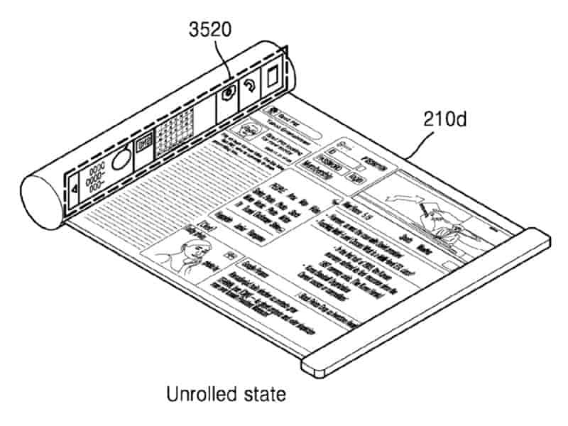Las pantallas curvas de Samsung patente 1 Pantalla desplegable desde un cilindro
