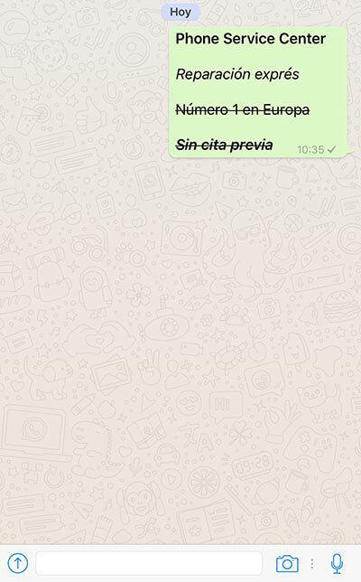 edita textos con Whatsapp Negrita Cursiva y Tachado