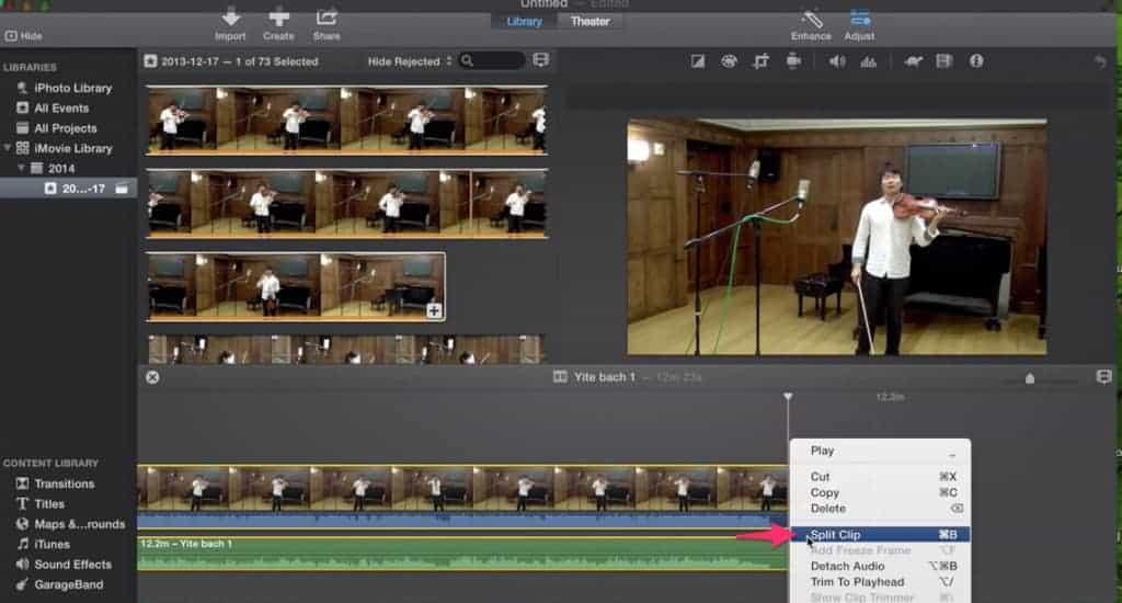 Dividir clips iMovie