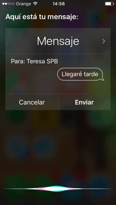 Siri manda mensajes
