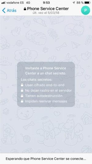 inicia un chat secreto en telegram
