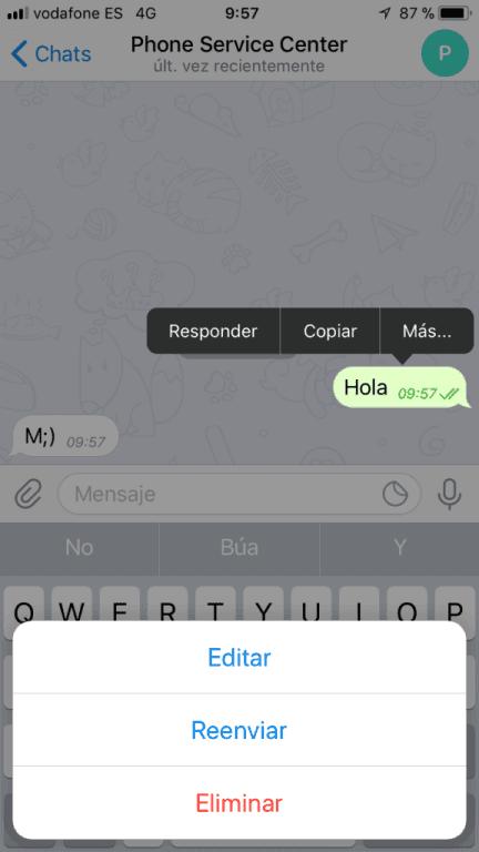 edita tus mensajes de telegram