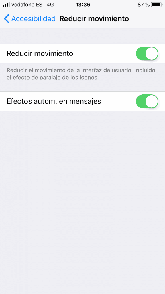 reduce el movimiento del iphone