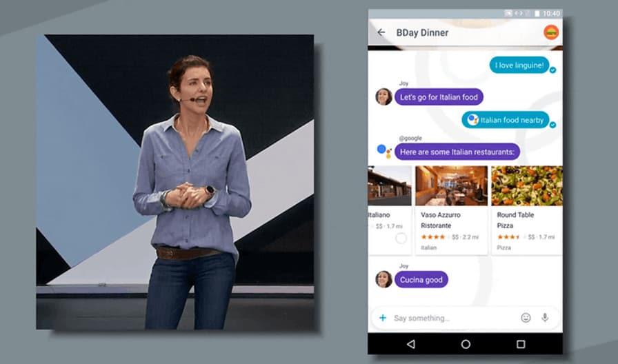 Google Allo proponiendo restaurantes
