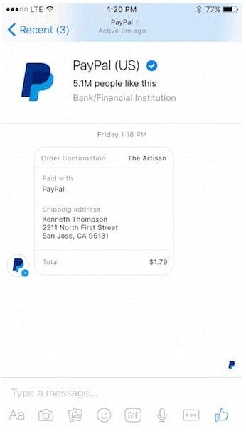 Facebook Messenger y PayPal