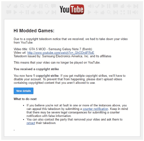 Samsung censura a YouTube