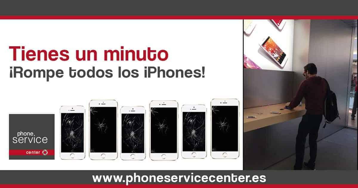 Tienes un minuto para romper todos los iphones del Apple Store