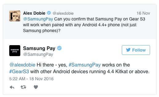 Tweet Samsung Pay