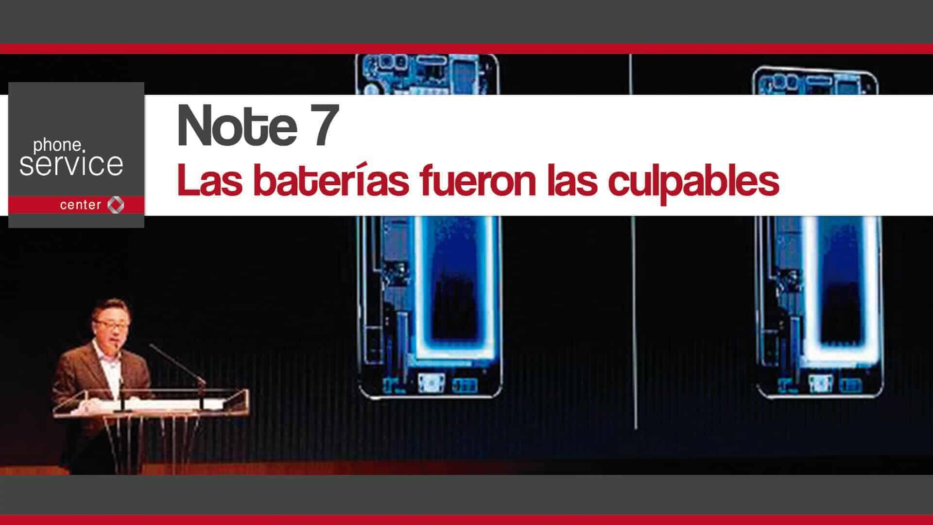 Note 7 las baterias fueron las culpables