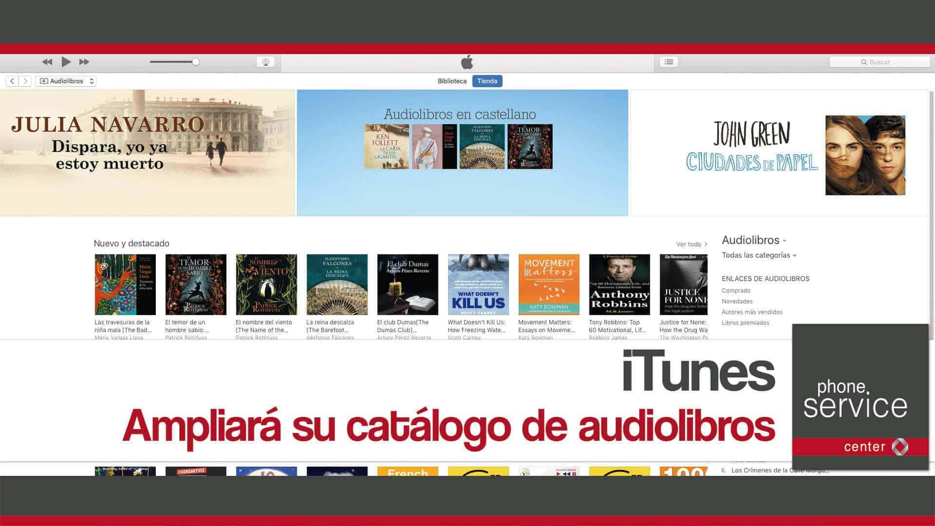iTunes ampliara su catalogo de audiolibros