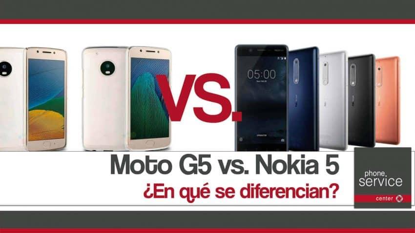 Moto G5 vs. Nokia 5 en que se diferencian