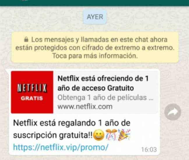 suscripcion a Netflix gratis timo