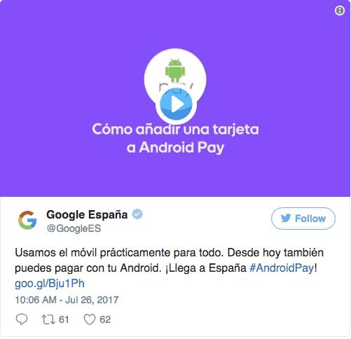 Google anuncia llegada de Android Pay en España
