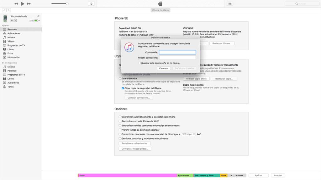 realizar una copia de seguridad cifrada en iTunes