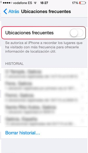 ubicaciones frecuentes iOS 11