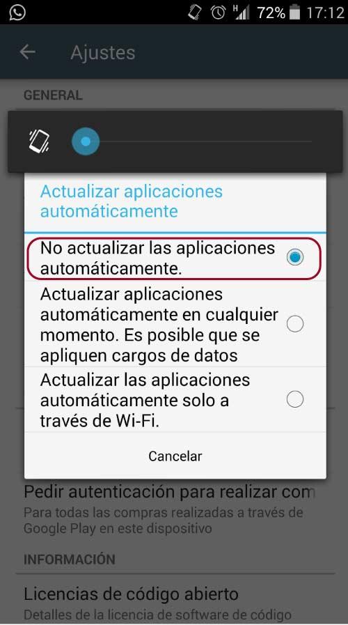 desactiva las actualizaciones automaticas en Android