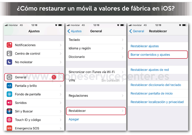 como restaurar un movil a valores de fabrica en iOS iPhone