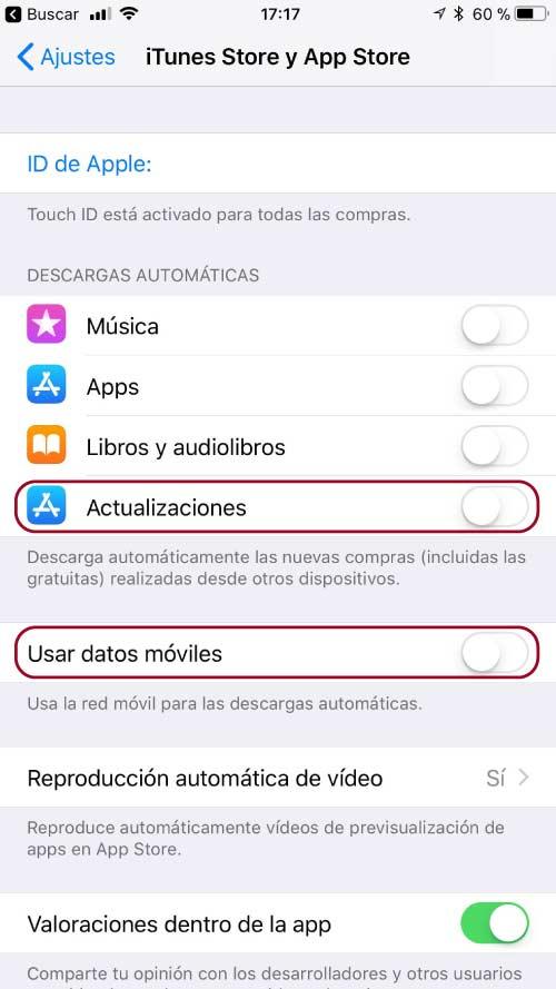 desactiva las actualizaciones automaticas en iOS