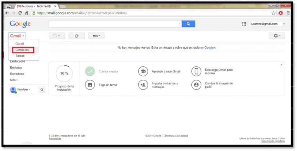 ve al apartado de contactos de gmail