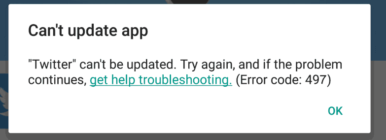 error 497 Play Store