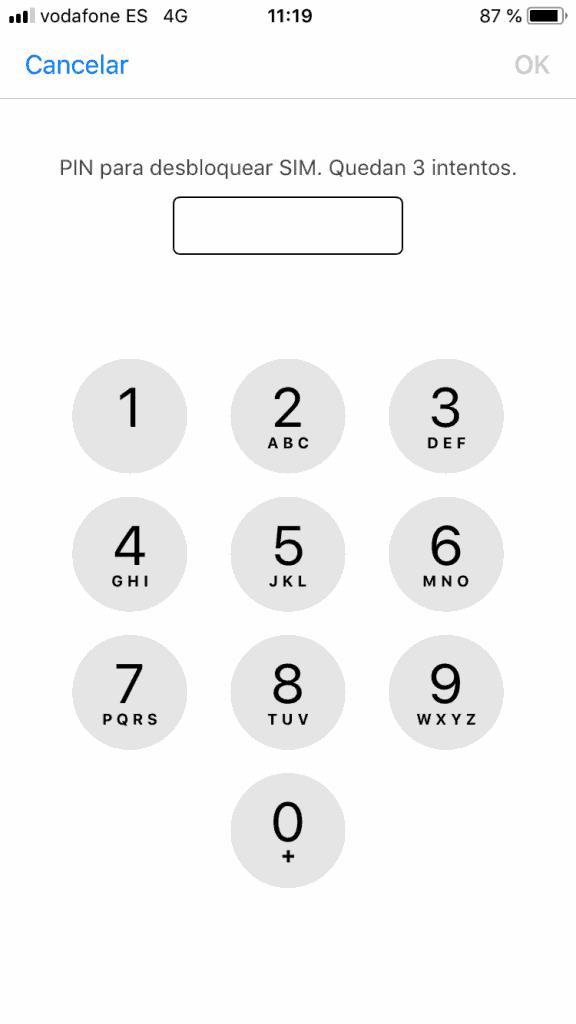introduce tu PIN para bloquear la SIM