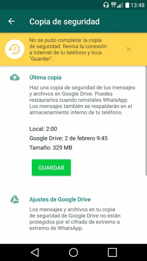copias de seguridad whatsapp android